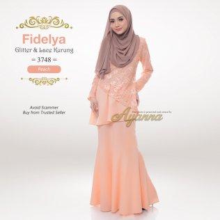 Fidelya Glitter & Lace Kurung 3748 (Peach)