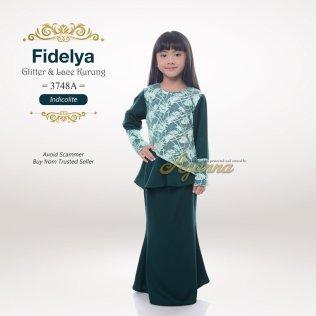 Fidelya Glitter & Lace Kurung 3748A (Indicolite)