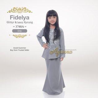 Fidelya Glitter & Lace Kurung 3748A (Grey)