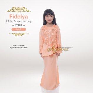 Fidelya Glitter & Lace Kurung 3748A (Peach)