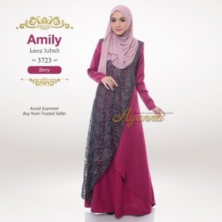 Amily Lace Jubah 3723 (Berry)