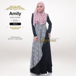 Amily Lace Jubah 3723 (Black)