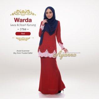 Warda Lace & Pearl Kurung 3784 (Red)