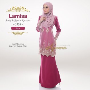 Lamisa Lace & Beads Kurung 2534 (Berry)