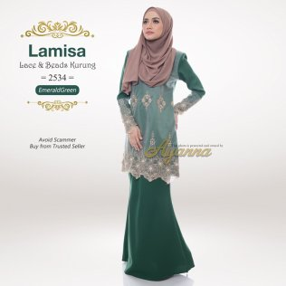 Lamisa Lace & Beads Kurung 2534 (EmeraldGreen)