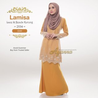 Lamisa Lace & Beads Kurung 2534 (Gold)