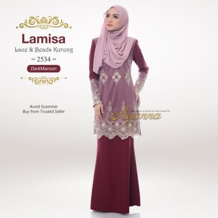 Lamisa Lace & Beads Kurung 2534 (Maroon)