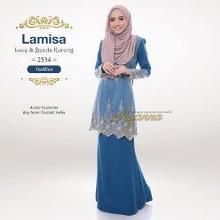 Lamisa Lace & Beads Kurung 2534 (TealBlue)