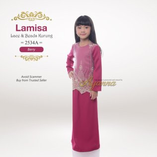Lamisa Lace & Beads Kurung 2534A (Berry)