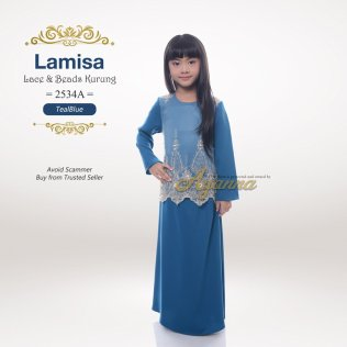Lamisa Lace & Beads Kurung 2534A (TealBlue)