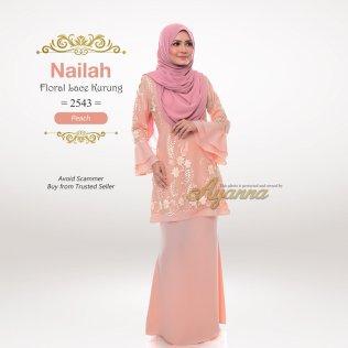 Nailah Floral Lace Kurung 2543 (Peach)
