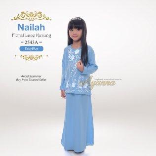Nailah Floral Lace Kurung 2543A (BabyBlue)