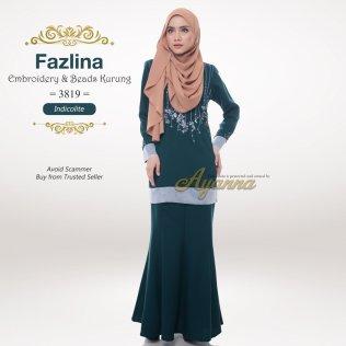 Fazlina Embroidery & Beads Kurung 3819 (Indicolite)