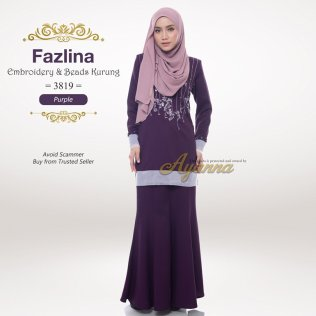 Fazlina Embroidery & Beads Kurung 3819 (Purple)