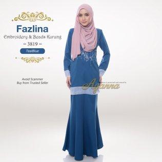 Fazlina Embroidery & Beads Kurung 3819 (TealBlue)