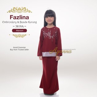 Fazlina Embroidery & Beads Kurung 3819A (Maroon)
