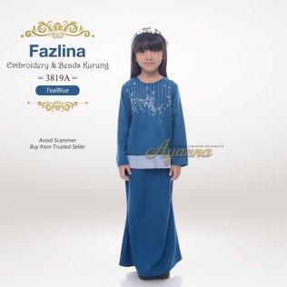 Fazlina Embroidery & Beads Kurung 3819A (TealBlue)