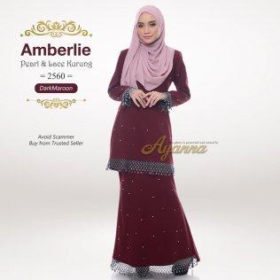 Amberlie Pearl & Lace Kurung 2560 (DarkMaroon)