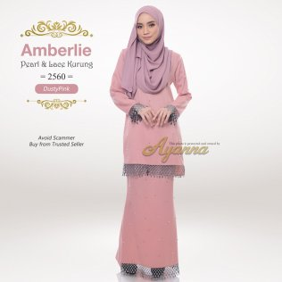 Amberlie Pearl & Lace Kurung 2560 (DustyPink)