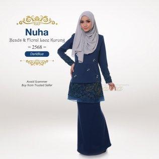 Nuha Beads & Floral Lace Kurung 2568 (DarkBlue)