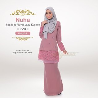 Nuha Beads & Floral Lace Kurung 2568 (DustyPink)