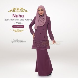Nuha Beads & Floral Lace Kurung 2568 (DustyPurple)