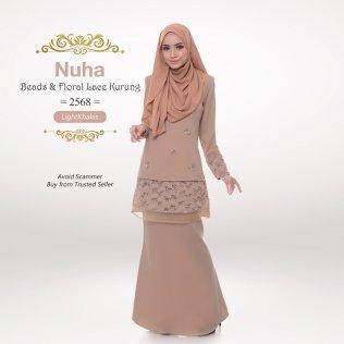 Nuha Beads & Floral Lace Kurung 2568 (LightKhakis)