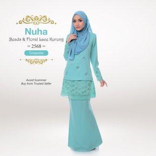 Nuha Beads & Floral Lace Kurung 2568 (Turquoise)