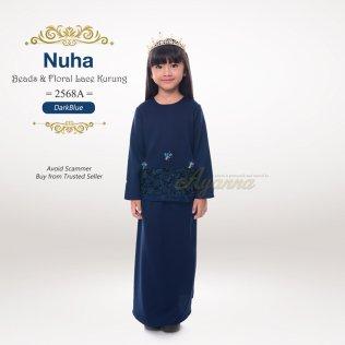 Nuha Beads & Floral Lace Kurung 2568A (DarkBlue)