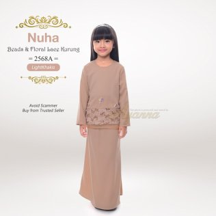 Nuha Beads & Floral Lace Kurung 2568A (LightKhakis)
