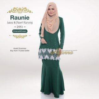 Raunie Lace & Pearl Kurung 2551 (EmeraldGreen)