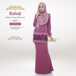 Eshal Sequin Lace Kurung 3837 (DustyPurple)