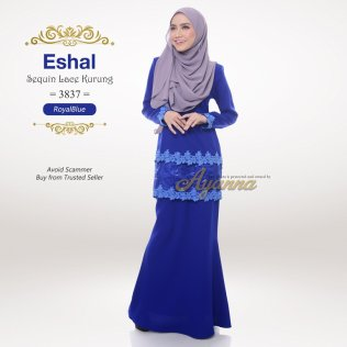 Eshal Sequin Lace Kurung 3837 (RoyalBlue)