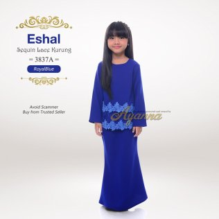 Eshal Sequin Lace Kurung 3837A (RoyalBlue)
