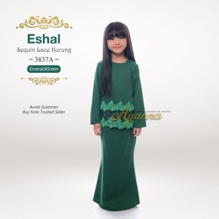 Eshal Sequin Lace Kurung 3837A (EmeraldGreen)