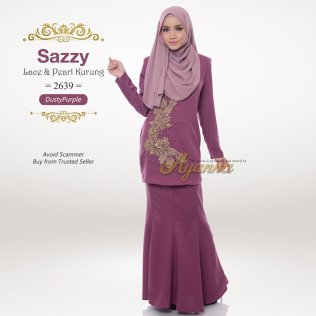 Sazzy Lace & Pearl Kurung 2639 (DustyPurple)