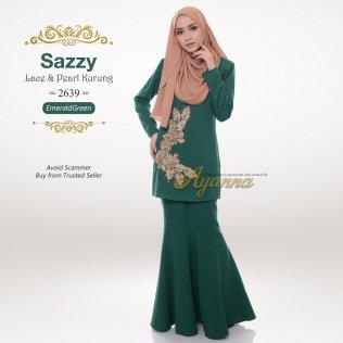 Sazzy Lace & Pearl Kurung 2639 (EmeraldGreen)