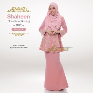 Shaheen Floral Lace Kurung 3872 (DustyPink)