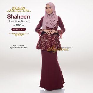 Shaheen Floral Lace Kurung 3872 (Maroon)