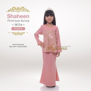 Shaheen Floral Lace Kurung 3872A (DustyPink)