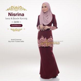 Nisrina Lace & Beads Kurung 2650 (DarkMaroon)