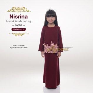Nisrina Lace & Beads Kurung 2650A (DarkMaroon)