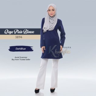 Qisya Plain Blouse 3894 (DarkBlue)