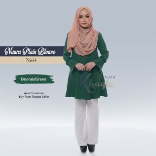 Naura Plain Blouse 2664 (EmeraldGreen)