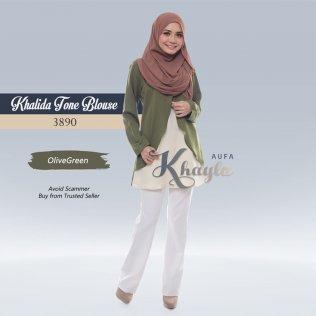 Khalida Tone Blouse 3890 (OliveGreen)