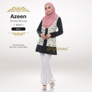Azeen Printed Blouse 3919 (Black)