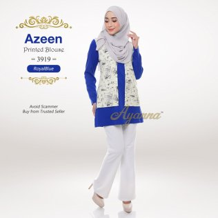 Azeen Printed Blouse 3919 (RoyalBlue)