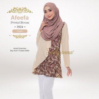 Afeefa Printed Blouse 3924 (Cream)