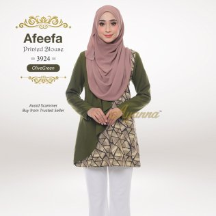 Afeefa Printed Blouse 3924 (OliveGreen)
