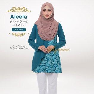 Afeefa Printed Blouse 3924 (TealGreen)